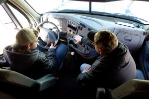 In cab pre-trip inspection.