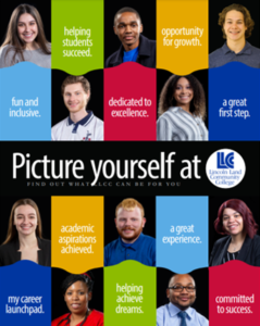 Viewbook cover: Picture yourself at LLCC Lincoln Land Community College. Find out what LLCC can be for you. Helping students succeed. Opportunity for growth. Fun and inclusive. Dedicated to excellence. A Great first step. Academic aspirations achieved. A great experience. My career launchpad. Helping achieve dreams. Committed to success.