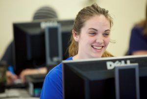 LLCC student at computer