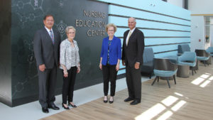Ed Curtis, president and CEO, and Marsha Prater, senior vice president and chief nursing officer, Memorial Health System; Dr. Charlotte Warren, president, and Ken Elmore, chair, Board of Trustees, Lincoln Land Community College in the new LLCC Nursing Education Center, a partnership with Memorial Health System.