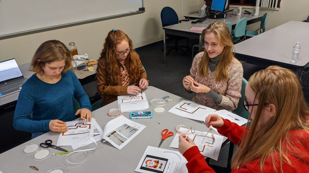 Picture of students working on Holiday Cards