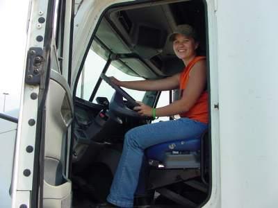Female student in truck.