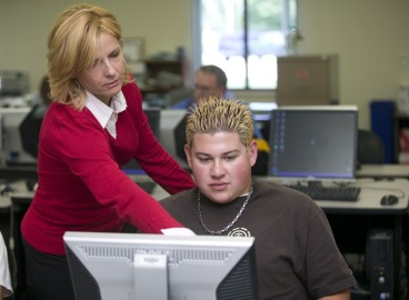 Professor Carmen with student